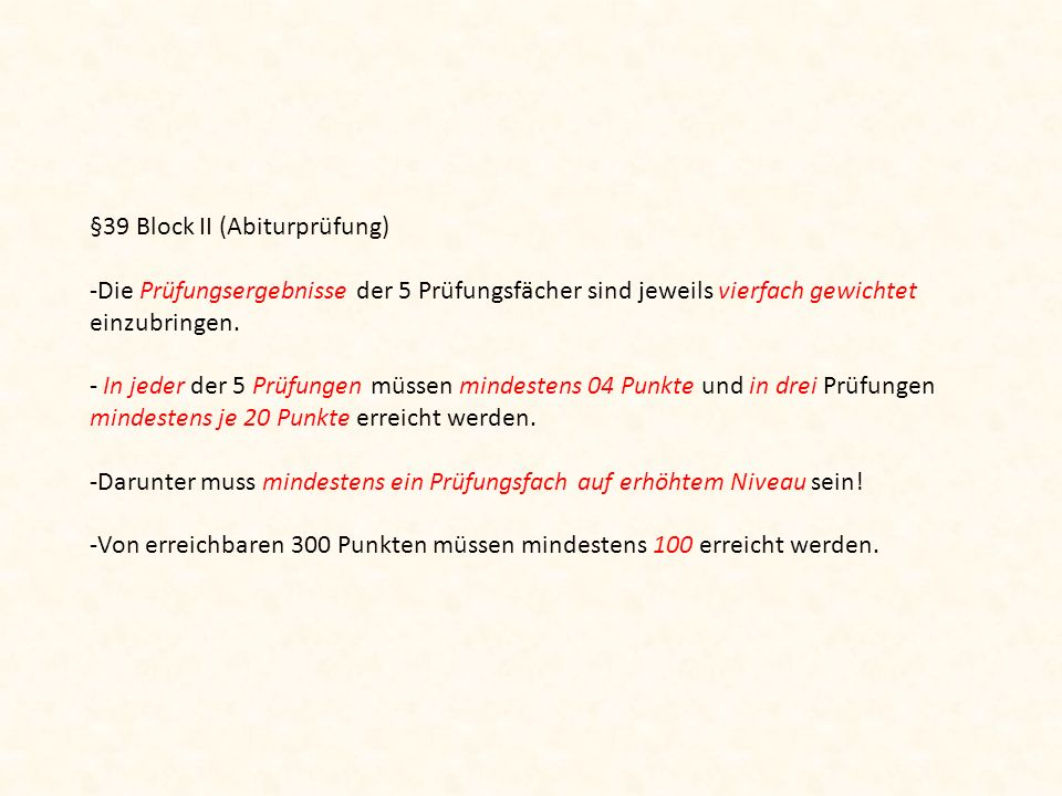 §39 Block II (Abiturprüfung)