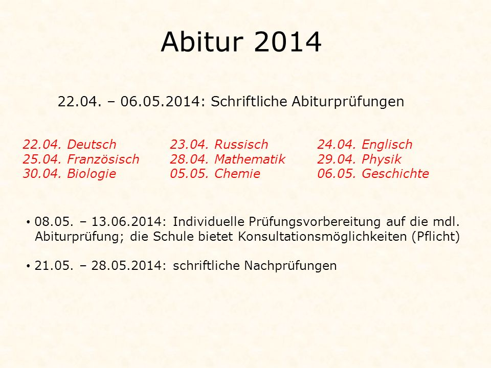 Abitur 2014 22.04. – 06.05.2014: Schriftliche Abiturprüfungen