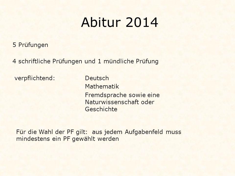Abitur 2014 5 Prüfungen. 4 schriftliche Prüfungen und 1 mündliche Prüfung. verpflichtend: Deutsch.