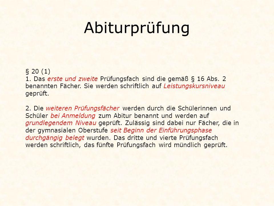 Abiturprüfung § 20 (1)