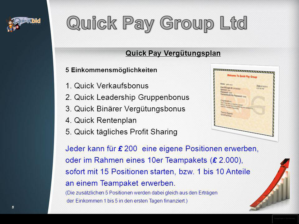 Quick Pay Vergütungsplan