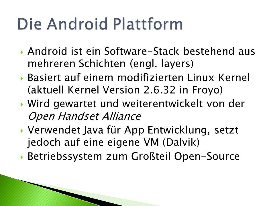 Die Android Plattform Android ist ein Software-Stack bestehend aus mehreren Schichten (engl. layers)