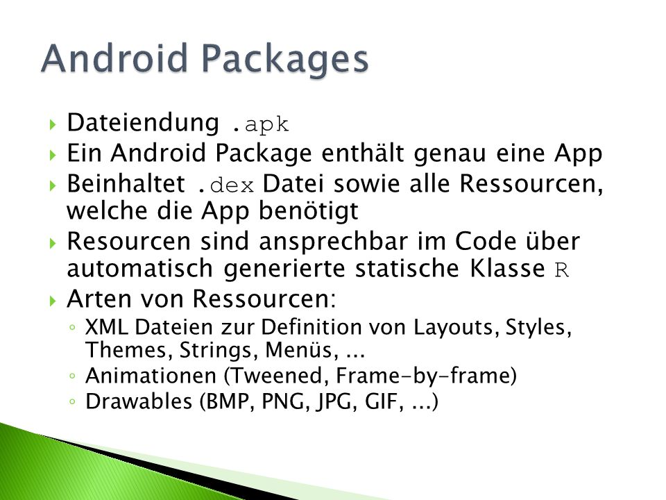 Android Packages Dateiendung .apk
