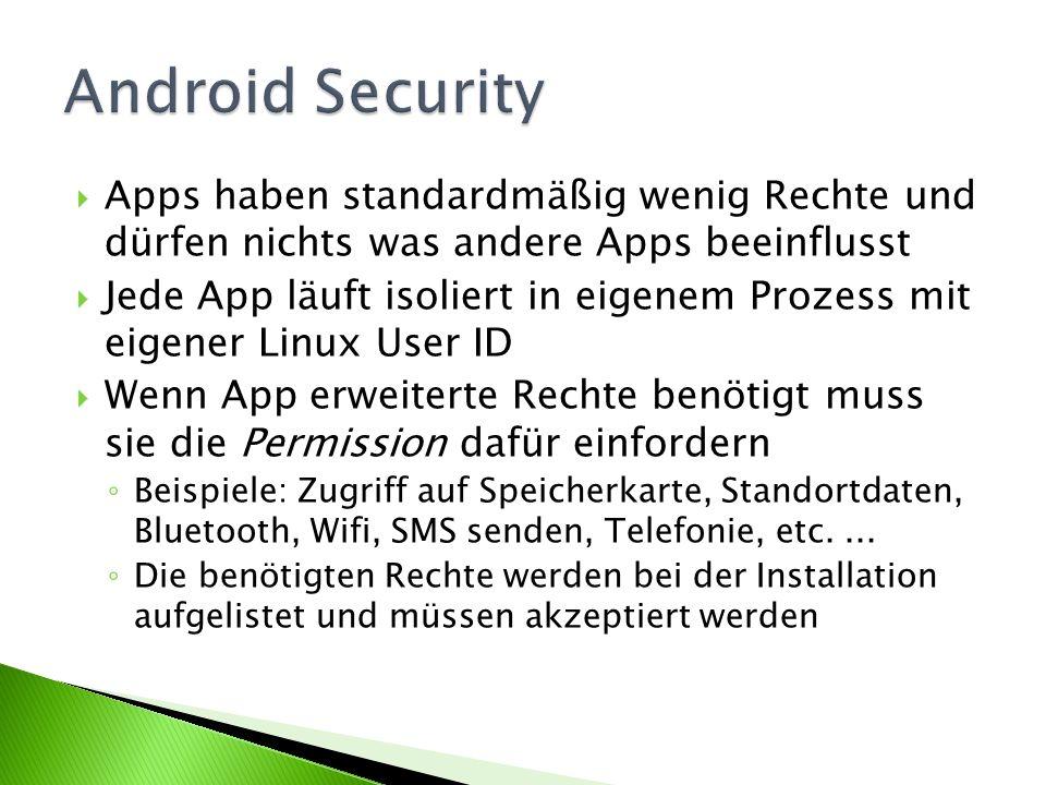 Android Security Apps haben standardmäßig wenig Rechte und dürfen nichts was andere Apps beeinflusst.