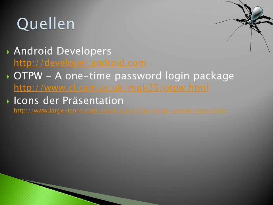 Quellen Android Developers http://developer.android.com