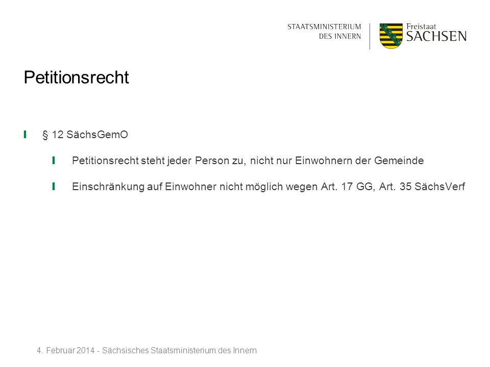 Petitionsrecht § 12 SächsGemO