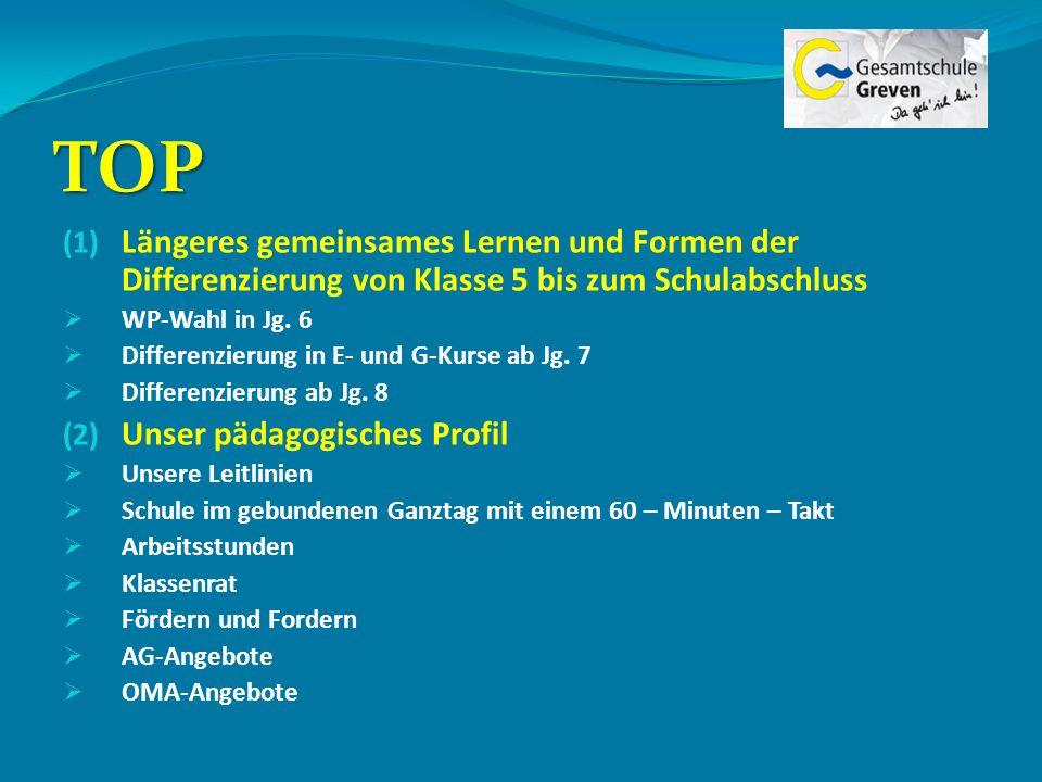 TOP Längeres gemeinsames Lernen und Formen der Differenzierung von Klasse 5 bis zum Schulabschluss.