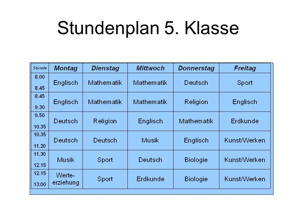 Stundenplan 5. Klasse 12