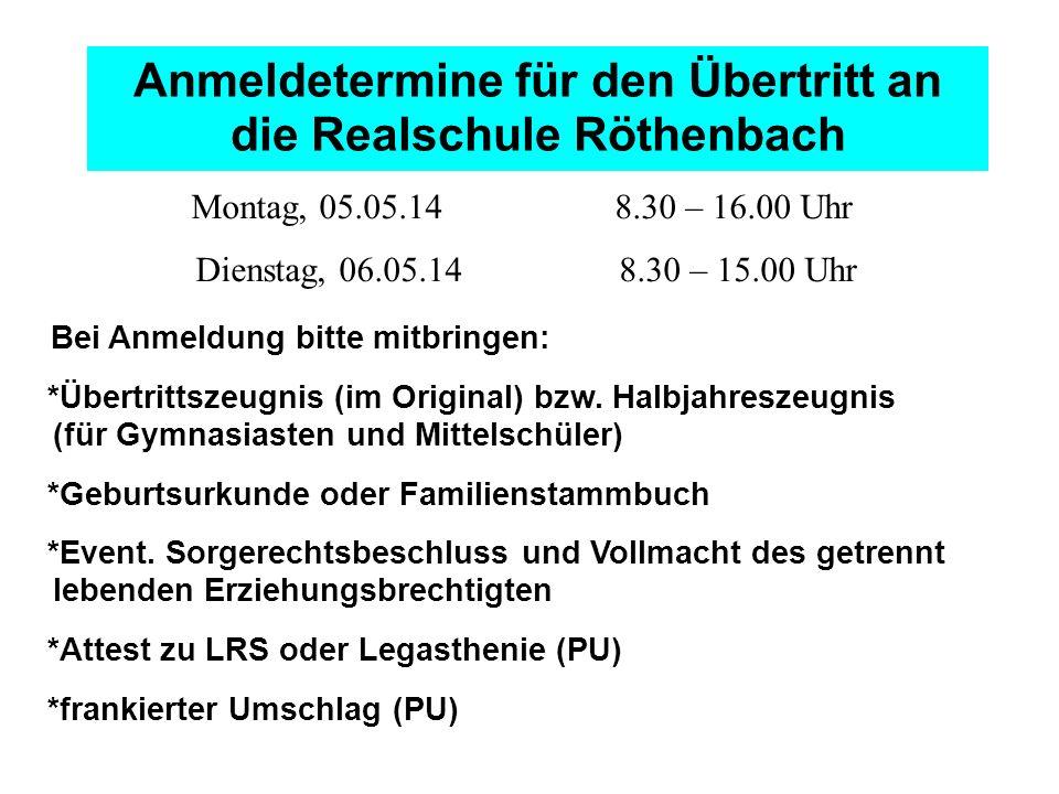 Anmeldetermine für den Übertritt an die Realschule Röthenbach