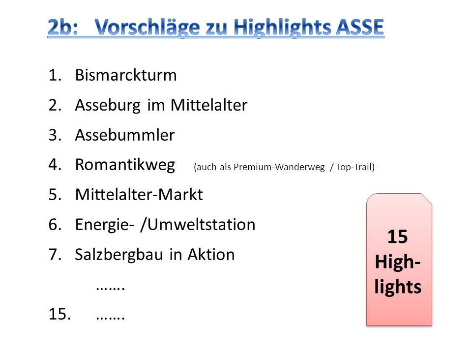 2b: Vorschläge zu Highlights ASSE