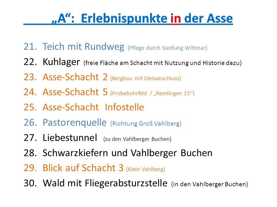 """""""A : Erlebnispunkte in der Asse"""