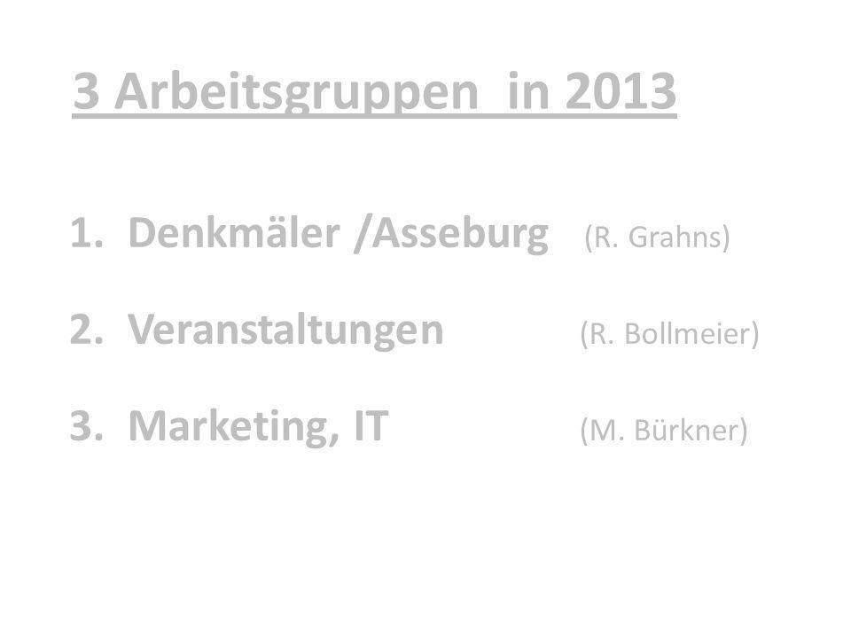 3 Arbeitsgruppen in 2013 Denkmäler /Asseburg (R. Grahns)