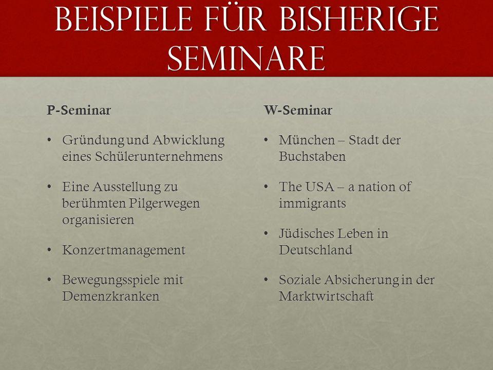 Beispiele für bisherige Seminare