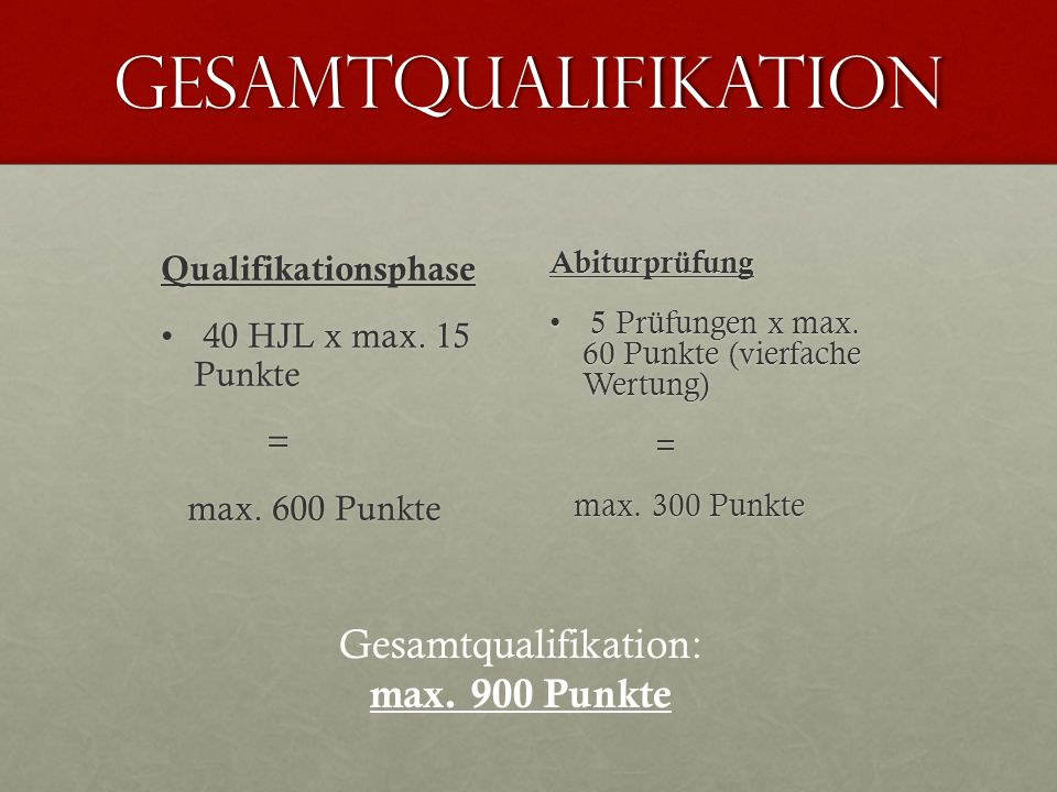 Gesamtqualifikation: max. 900 Punkte