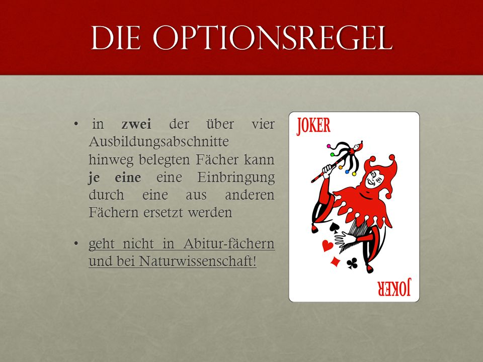 Die Optionsregel