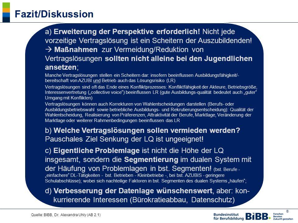 Fazit/Diskussion a) Erweiterung der Perspektive erforderlich! Nicht jede vorzeitige Vertragslösung ist ein Scheitern der Auszubildenden!