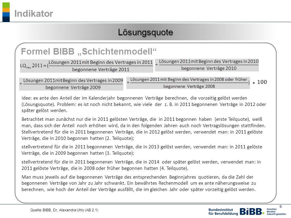 """* 100 Indikator Lösungsquote Formel BIBB """"Schichtenmodell"""