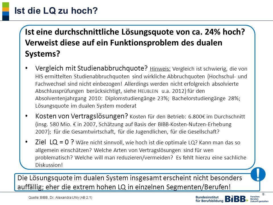 Ist die LQ zu hoch Ist eine durchschnittliche Lösungsquote von ca. 24% hoch Verweist diese auf ein Funktionsproblem des dualen Systems