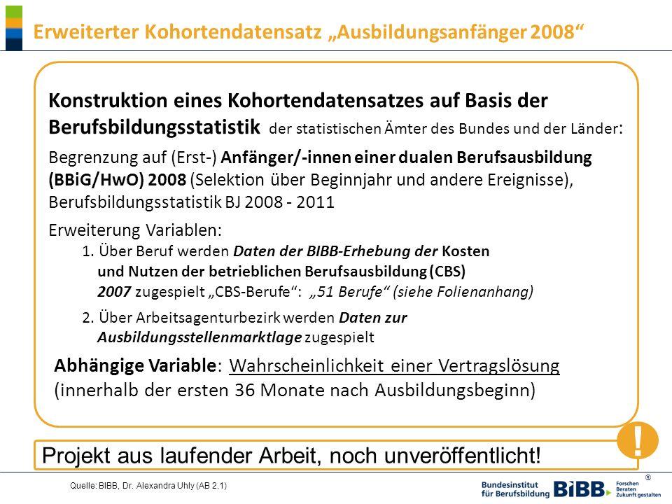 """! Erweiterter Kohortendatensatz """"Ausbildungsanfänger 2008"""