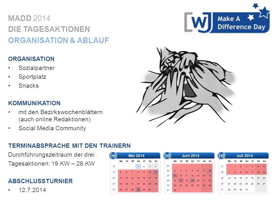 MADD 2014 DIE TAGESAKTIONEN ORGANISATION & ABLAUF ORGANISATION