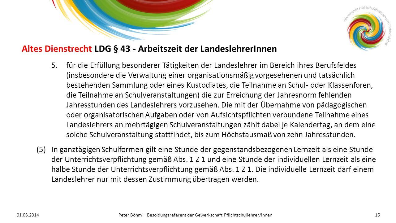Altes Dienstrecht LDG § 43 - Arbeitszeit der LandeslehrerInnen
