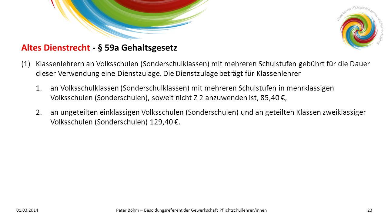 Altes Dienstrecht - § 59a Gehaltsgesetz