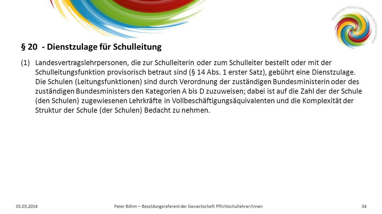 § 20 - Dienstzulage für Schulleitung