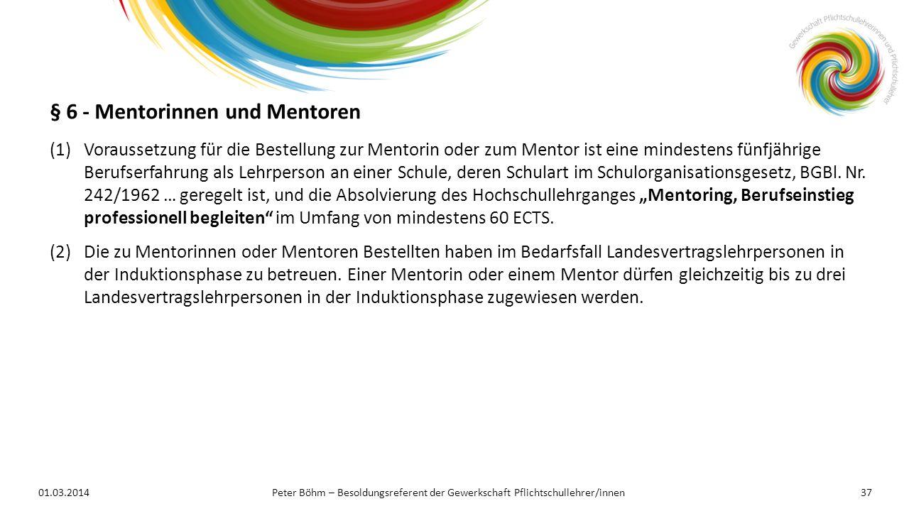 § 6 - Mentorinnen und Mentoren