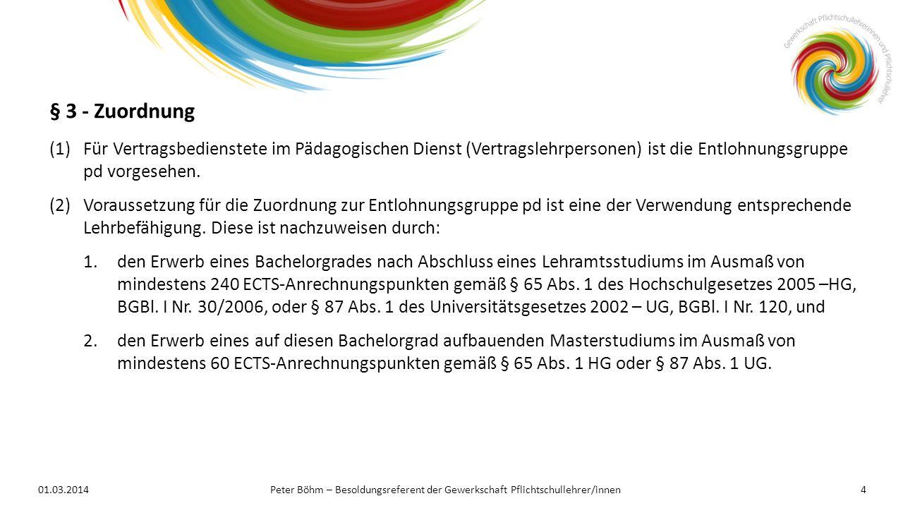 § 3 - Zuordnung Für Vertragsbedienstete im Pädagogischen Dienst (Vertragslehrpersonen) ist die Entlohnungsgruppe pd vorgesehen.