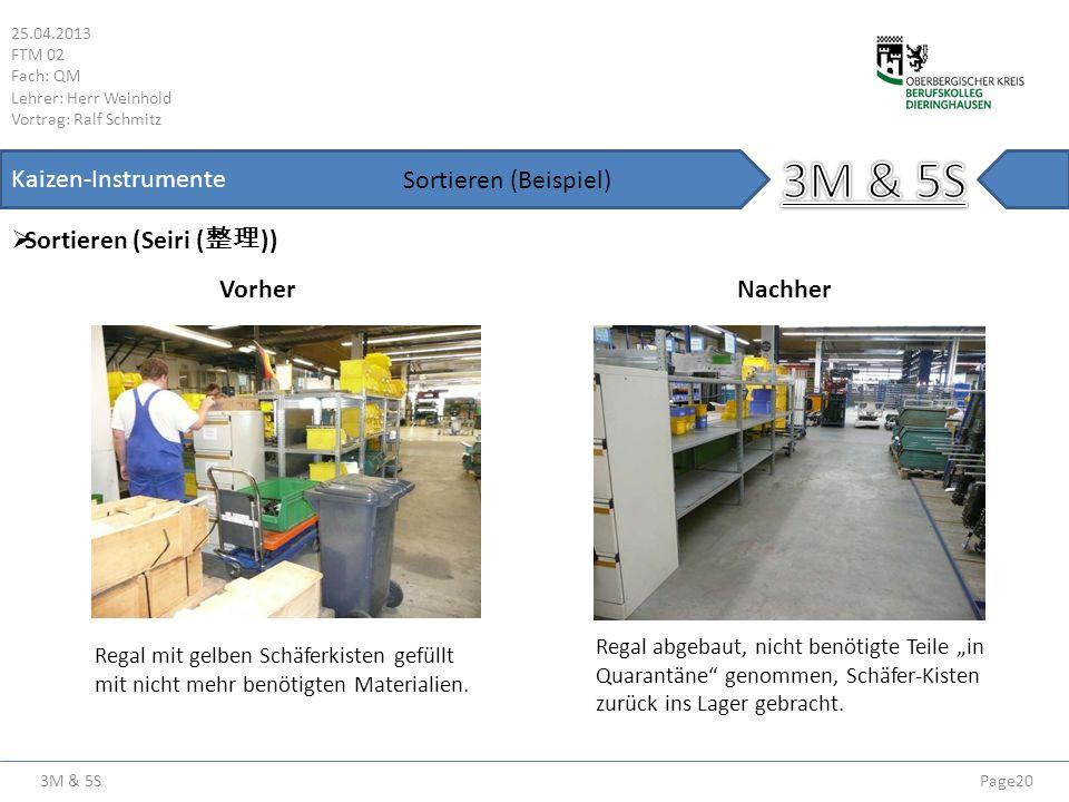 3M & 5S Kaizen-Instrumente Sortieren (Beispiel) Sortieren (Seiri (整理))