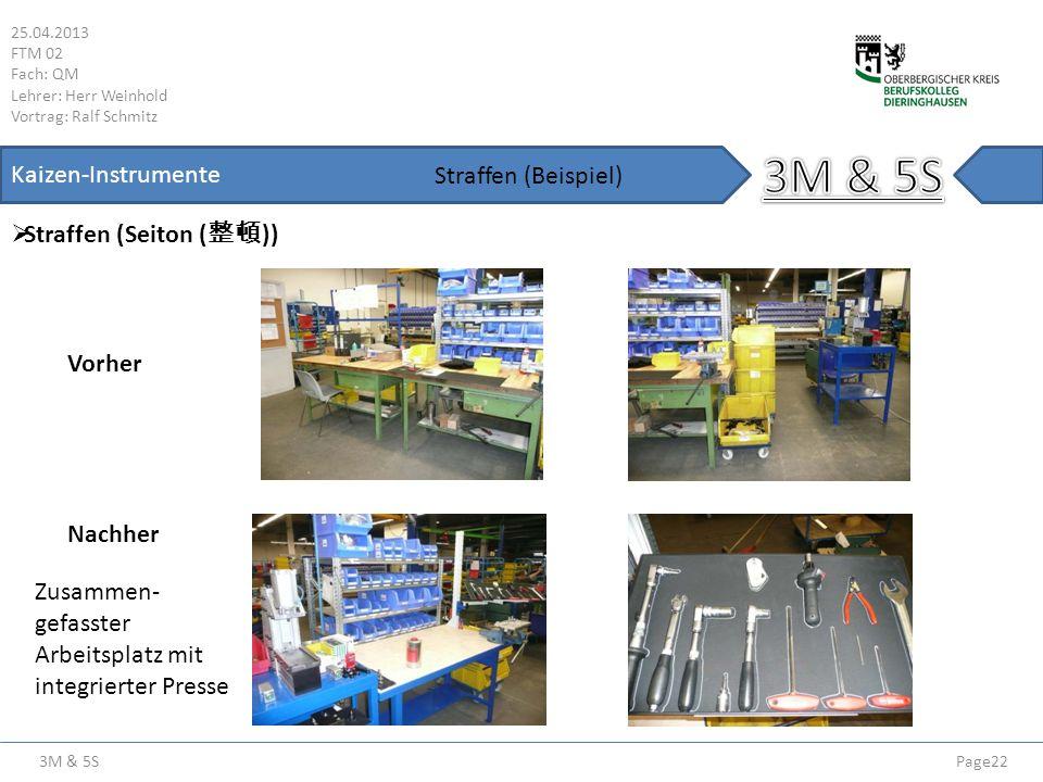 3M & 5S Kaizen-Instrumente Straffen (Beispiel) Straffen (Seiton (整頓))