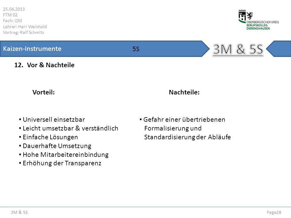 3M & 5S Kaizen-Instrumente 5S 12. Vor & Nachteile Vorteil: Nachteile: