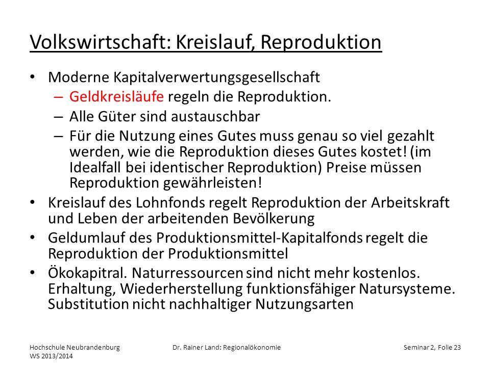 Volkswirtschaft: Kreislauf, Reproduktion