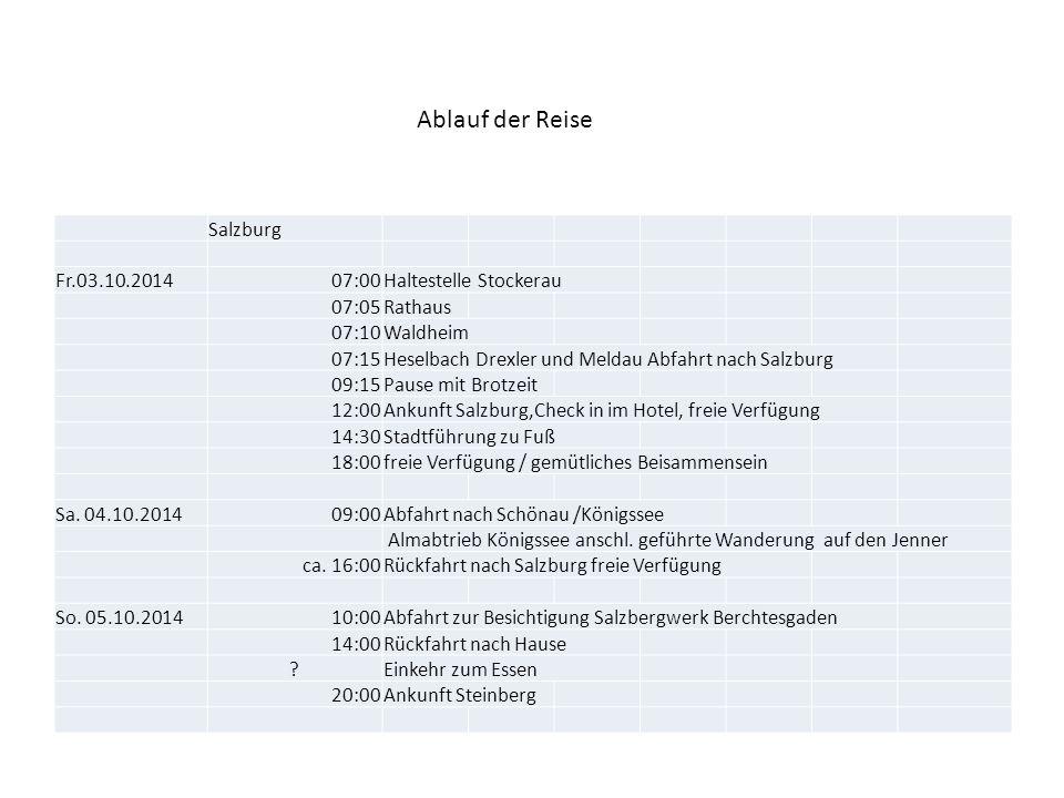 Ablauf der Reise Salzburg Fr.03.10.2014 07:00 Haltestelle Stockerau