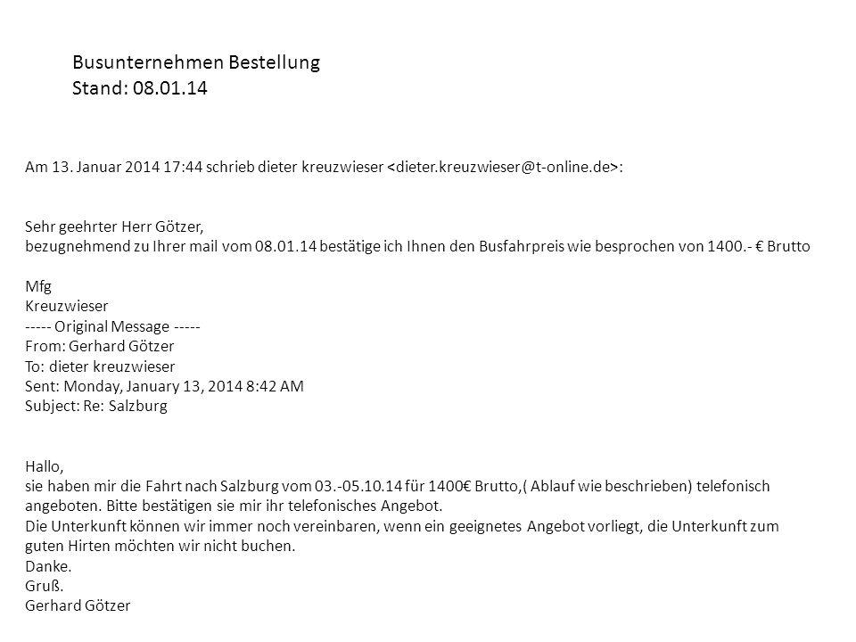 Busunternehmen Bestellung Stand: 08.01.14