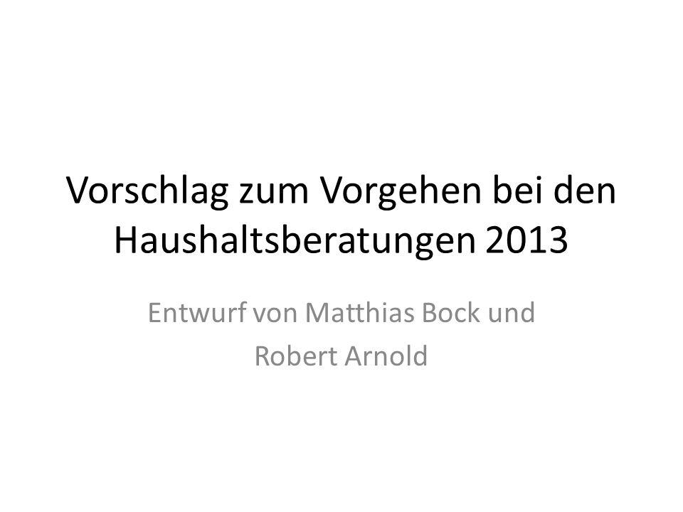 Vorschlag zum Vorgehen bei den Haushaltsberatungen 2013