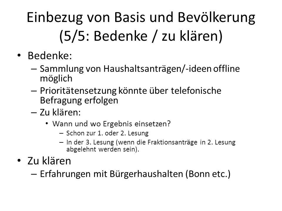 Einbezug von Basis und Bevölkerung (5/5: Bedenke / zu klären)