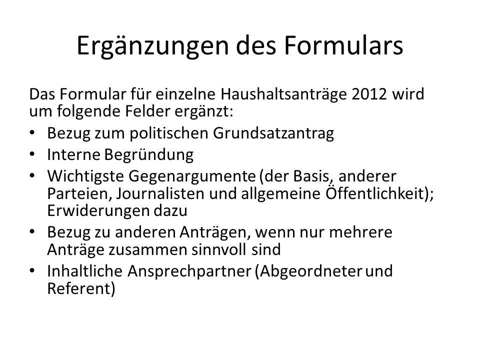 Ergänzungen des Formulars
