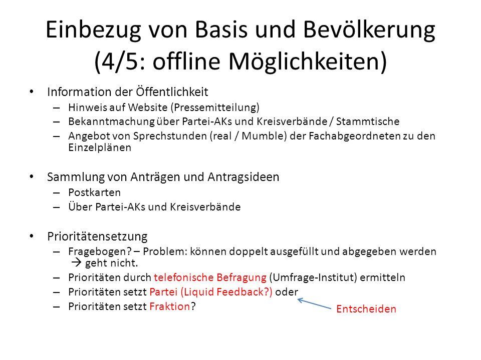 Einbezug von Basis und Bevölkerung (4/5: offline Möglichkeiten)