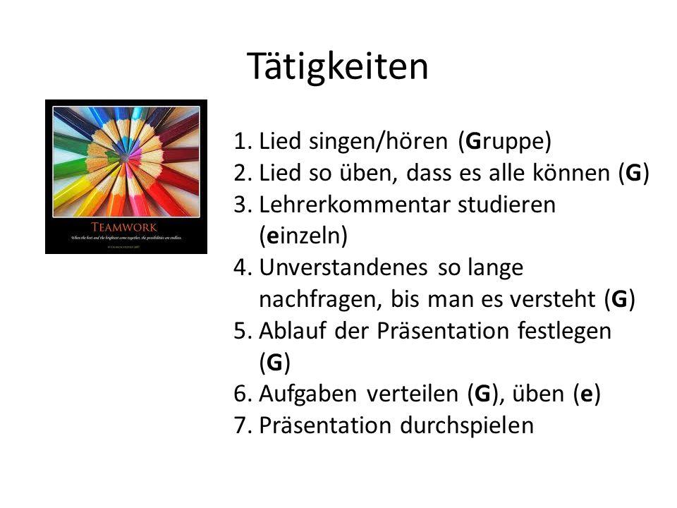 Tätigkeiten Lied singen/hören (Gruppe)