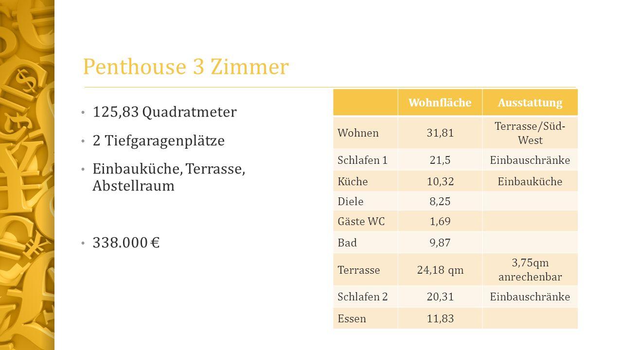 Penthouse 3 Zimmer 125,83 Quadratmeter 2 Tiefgaragenplätze