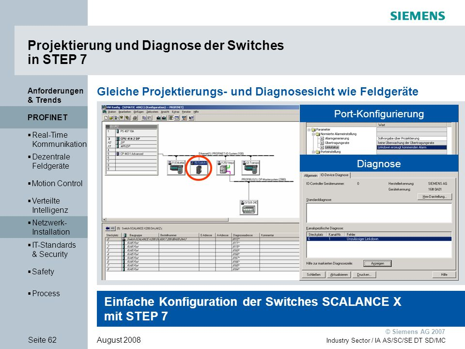 Projektierung und Diagnose der Switches in STEP 7