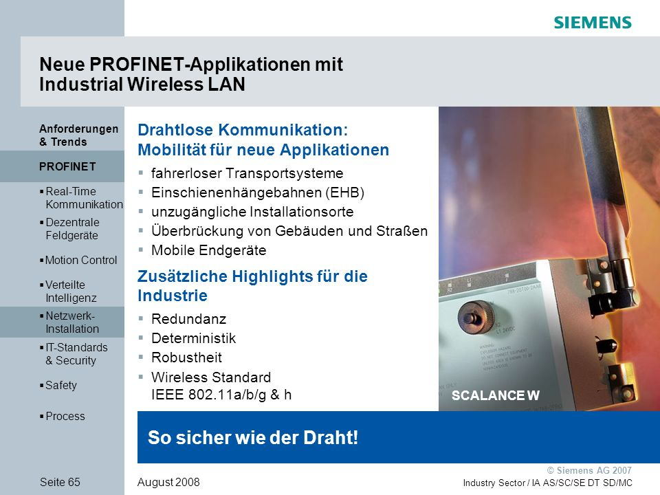 Neue PROFINET-Applikationen mit Industrial Wireless LAN