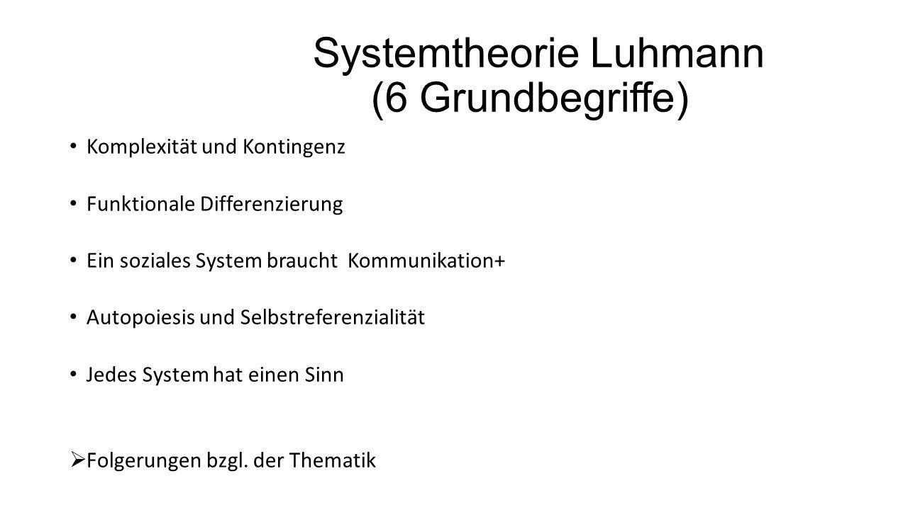 Systemtheorie Luhmann (6 Grundbegriffe)
