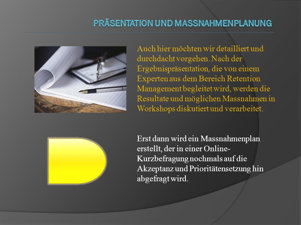 Präsentation und Massnahmenplanung