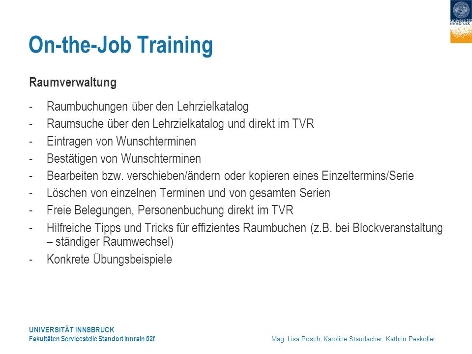 On-the-Job Training Raumverwaltung