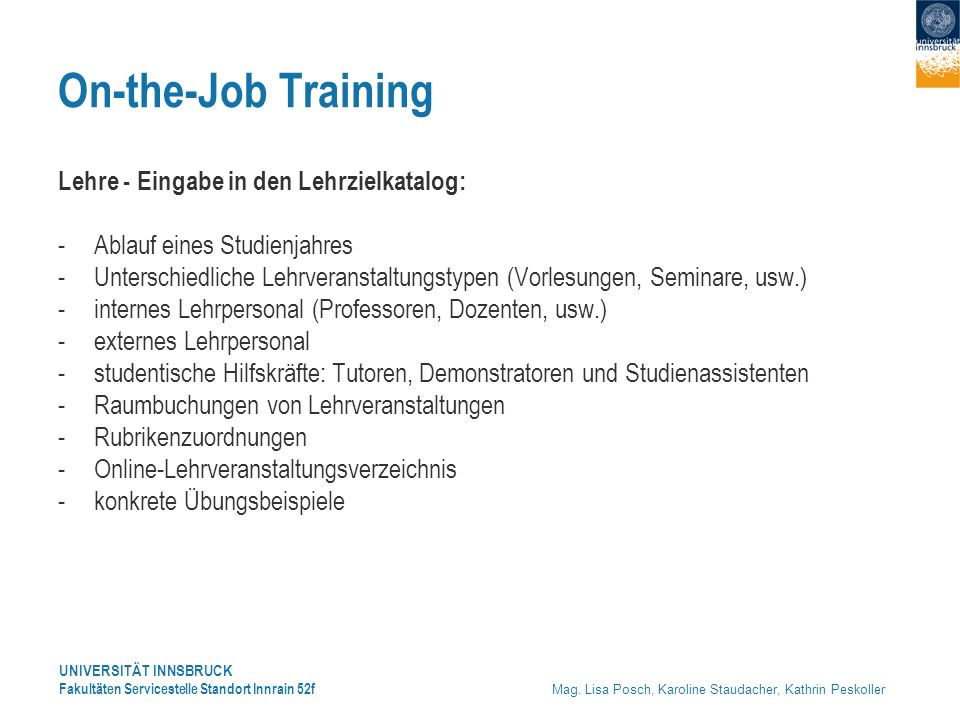 On-the-Job Training Lehre - Eingabe in den Lehrzielkatalog: