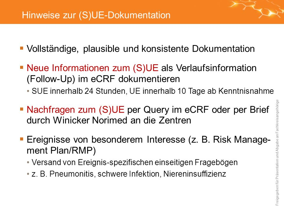 Hinweise zur (S)UE-Dokumentation
