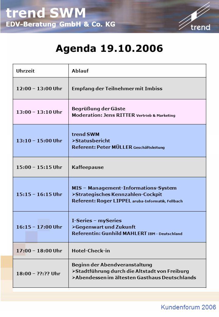 Agenda 19.10.2006 Kundenforum 2006 Uhrzeit Ablauf 12:00 – 13:00 Uhr