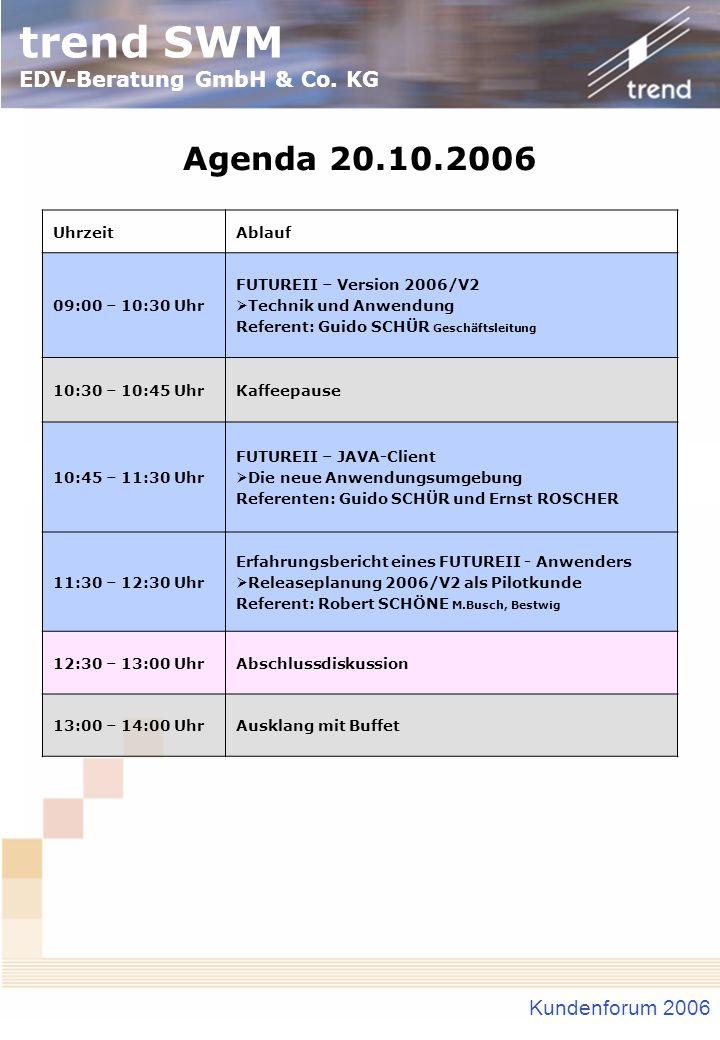 Agenda 20.10.2006 Kundenforum 2006 Uhrzeit Ablauf 09:00 – 10:30 Uhr